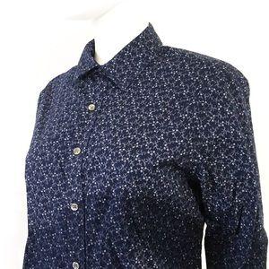 APT 9 blue + white print button down classic shirt